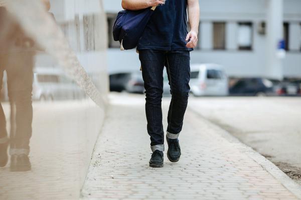 closeup man walking