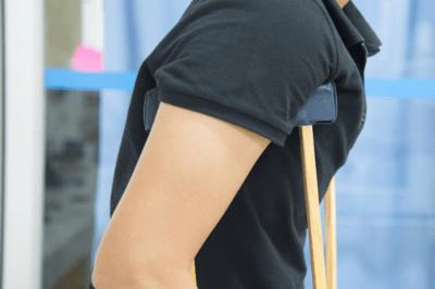 man on crutches